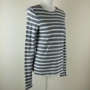 J Crew Black Label Striped Zipper Shoulder Top